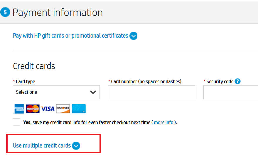 during the checkout process select multiple credit cards and you can choose how much to charge to each card - Apply For Multiple Credit Cards At One Time
