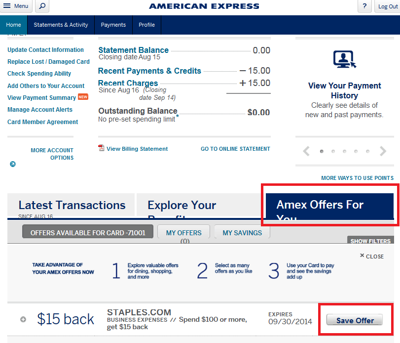 Am Ex Login >> Check Your Amex Account For A Targeted 15 Off 100 Staples