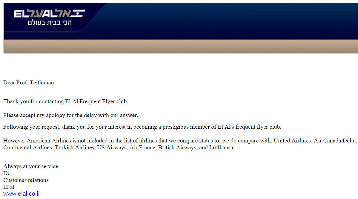 el al: sorry we don't match american status, if only you had