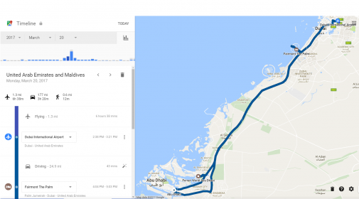 Maldives trip notes part 2 dubai and abu dhabi dansdeals google maps timeline is both awesome and creepy at the same time it shows our driving on monday from dubai to abu dhabi gumiabroncs Choice Image