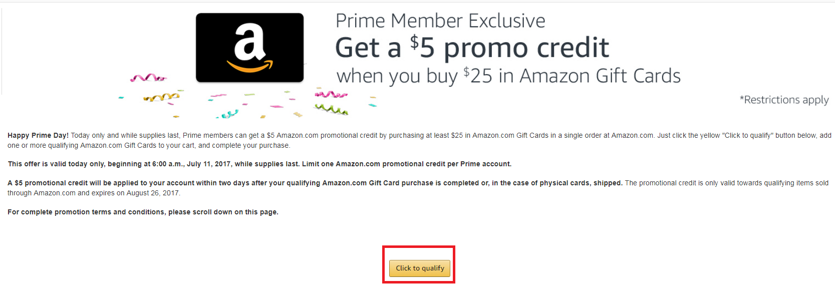 Prime members buy a 25 amazon gift card and get a 5 promo then purchase a 25 amazon gift card or egift card you can add the gift card to your amazon balance the gift card will never expire 1betcityfo Images