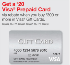 if you buy 300 in visa gift cards from staples between 114 and 120 you can send in an easy rebate online to get a bonus 20 visa gift card - Earn Free Visa Gift Cards