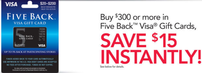 Get 15 Off 300 Of Five Back Visa Gift Cards From Office Max Or