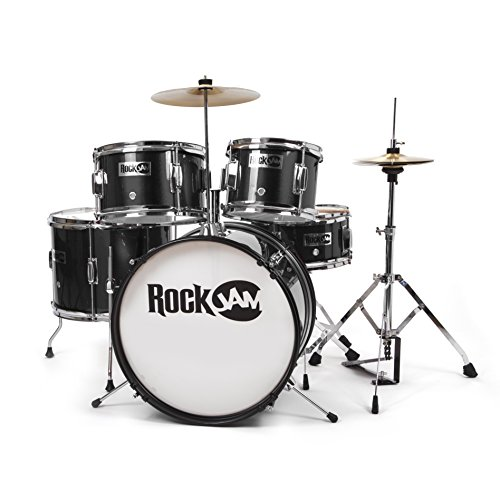 rockjam complete 5 piece junior drum set with cymbals adjustable throne accessories for 47. Black Bedroom Furniture Sets. Home Design Ideas