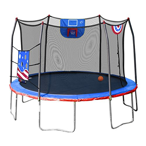 today only skywalker jump n 39 dunk 12 39 trampoline with safety enclosure and basketball hoop for. Black Bedroom Furniture Sets. Home Design Ideas