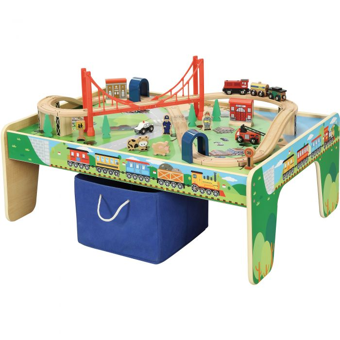 Get This Deal Wooden 50 Piece Train Set With Table For 34 97 From Shipping