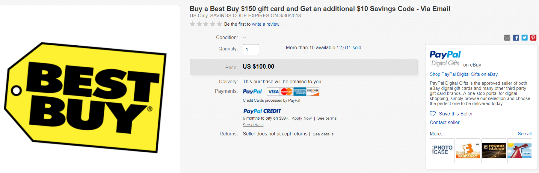 Hurry Price Mistake 150 Bestbuy Gift Card And 10 Off Code For Only 100 Shipped Via Ebay Daily Deals Dansdeals Com