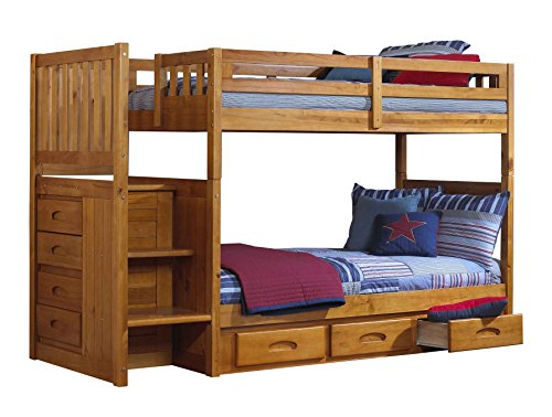 Hot Twin Over Twin Staircase Bunk Bed With 3 Drawer Storage For