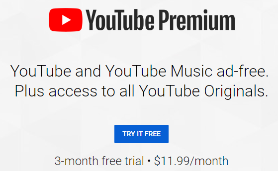 Free 3 Month New Customer Trial For YouTube Premium