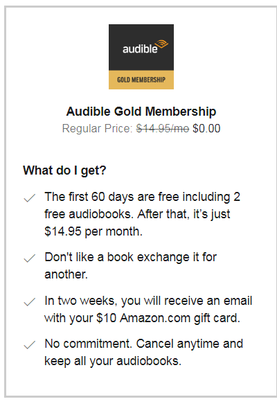 Targeted: Rejoin Audible For Free And Get A Free $10 Amazon