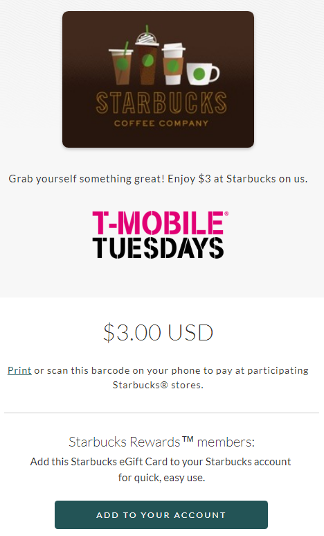 T-Mobile Tuesdays: Get A Free $3 Starbucks Gift Card
