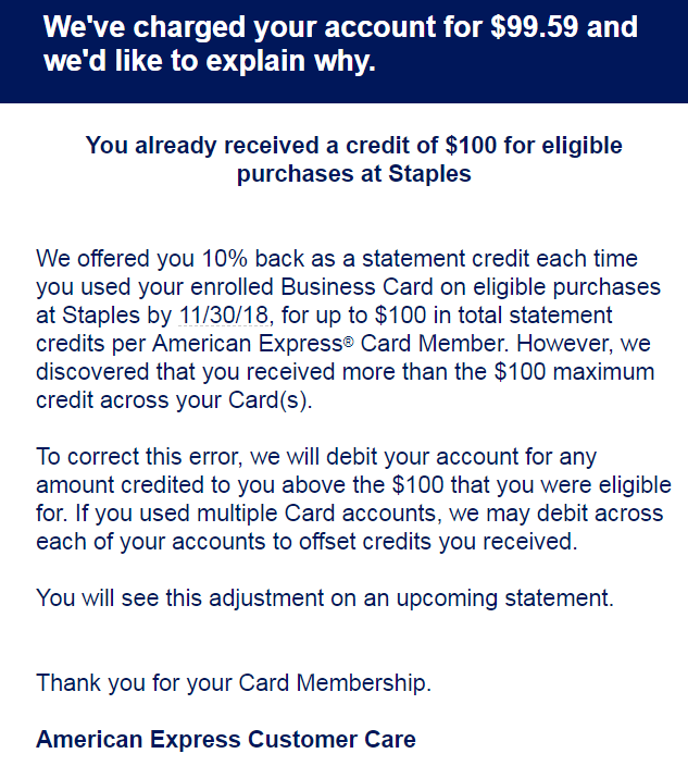 AMEX Clawing Back AMEX Offers Credits Earned On Multiple ...