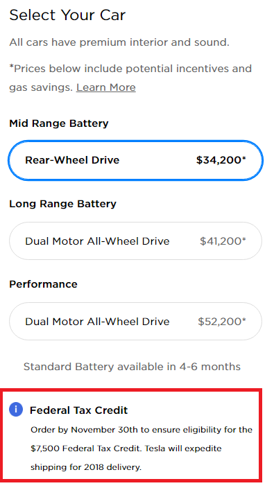 Those Prices Are Making A Few Umptions Though As The Full Price Is 46 000 Tesla Factoring In 7 500 Federal Tax Credit That Will Expire On
