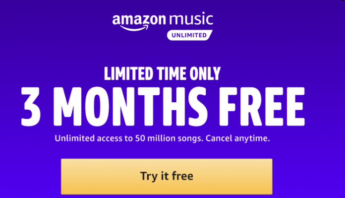 Free Three-Month Trial Of Amazon Music Unlimited For New