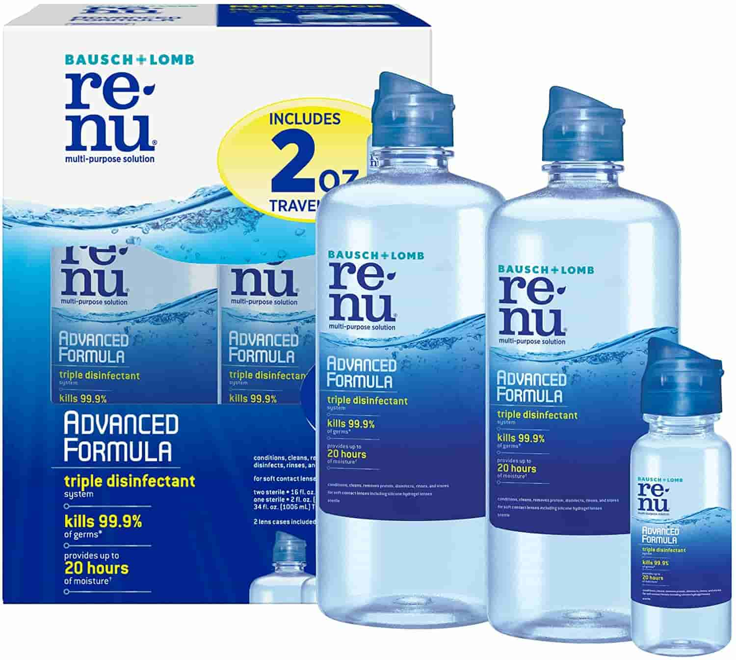 2 Full Size Bottles And A Travel Bottle Of Bausch Lomb Renu Advanced Triple Disinfect Contact Lens Solution For 9 98 From Amazon After 50 Off Coupon Dansdeals Com
